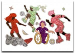 Bild aus Glitzermosaiksteinen zeigt 4 Mädchenfiguren, die verschiedenen Sportarten ausüben. Es hängt in der Anlauf- und Beratungsstelle und wurde 2011 von Mädchen aus der Zufluchtsstätte gestaltet.