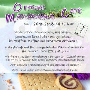 Einladung zum Offenen Mädchenhaus-Café Rückseite zeigt Einladungstext