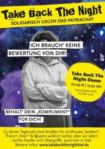 """Plakat zur Demo Take Back The Night mit junger Frau im Kapiuzenpulli und verschränkten Armen und dem Text """"Ich brauch' keine Bewertung von dir! Behalt dein Kompliment für dich!"""""""