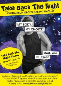 "Plakat zur Demo Take Back The Night zeigt jungen Mann im Kleid und den Text ""My Body, my Choice! Egal, was ich trage!"""