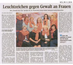 Foto zeigt Abbildung des Artikels in den Kieler Nachrichten am 9.11.2018, in dem zur Aktion Orange your City! aufgerufen wird. Link führt zum Artikel in pdf-Format