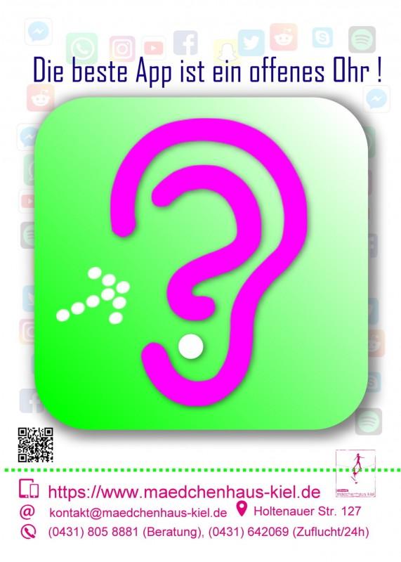 Mädchenhaus-Postkarte mit dem Text Die beste App ist ein offenes Ohr