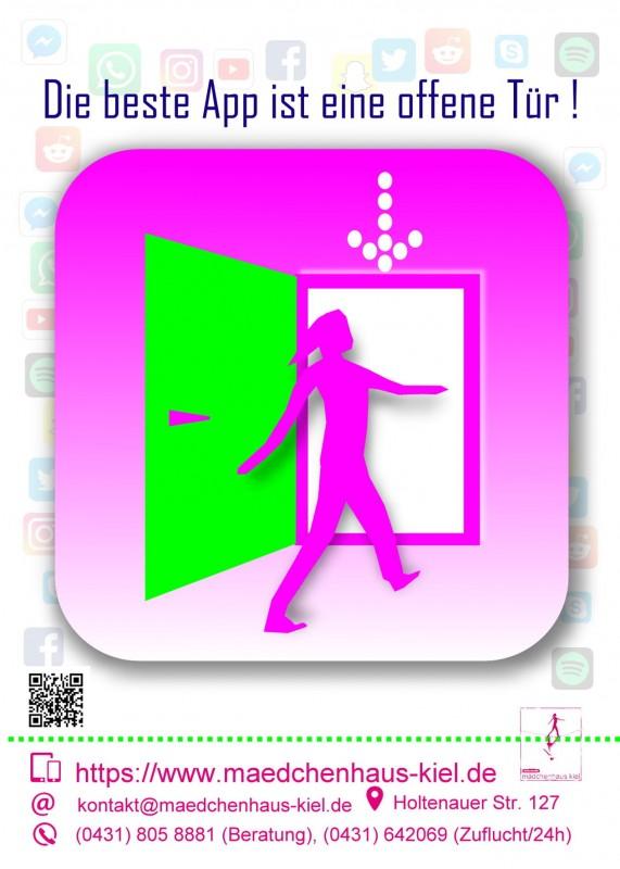 Mädchenhaus-Postkarte mit dem Text Die beste App ist eine offene Tür